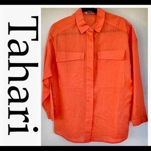 Tahari Ladies Linen Shirt Size 12